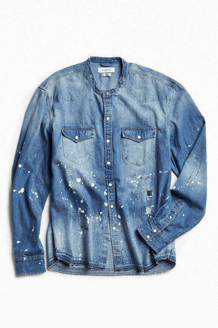 e6adbe08e55 UO Repaired Band Collar Denim Western Shirt