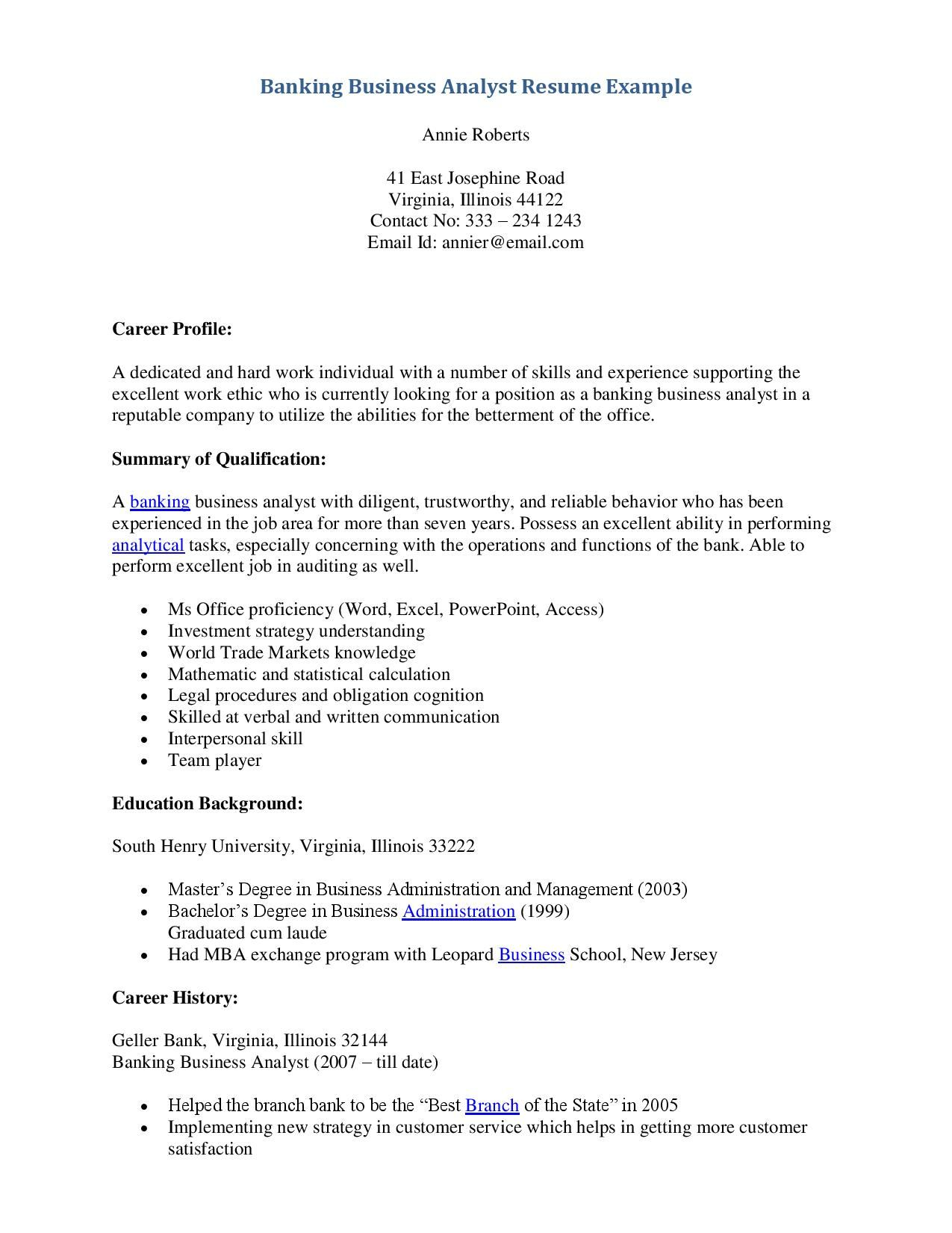 Example Of Business Analyst Resumes Http Topresume Info 2014