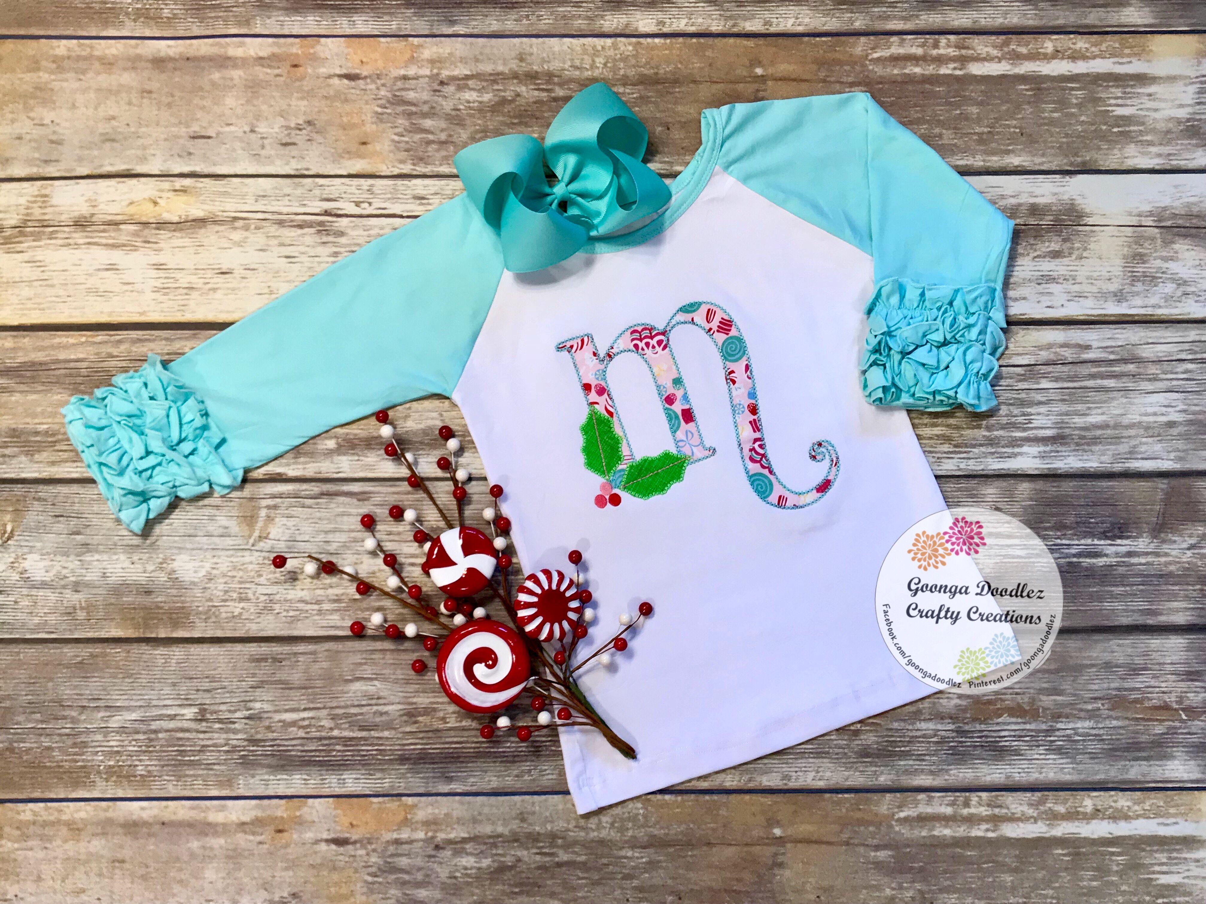 Holly jolly alpha monogram m personalized shirt christmas shirt