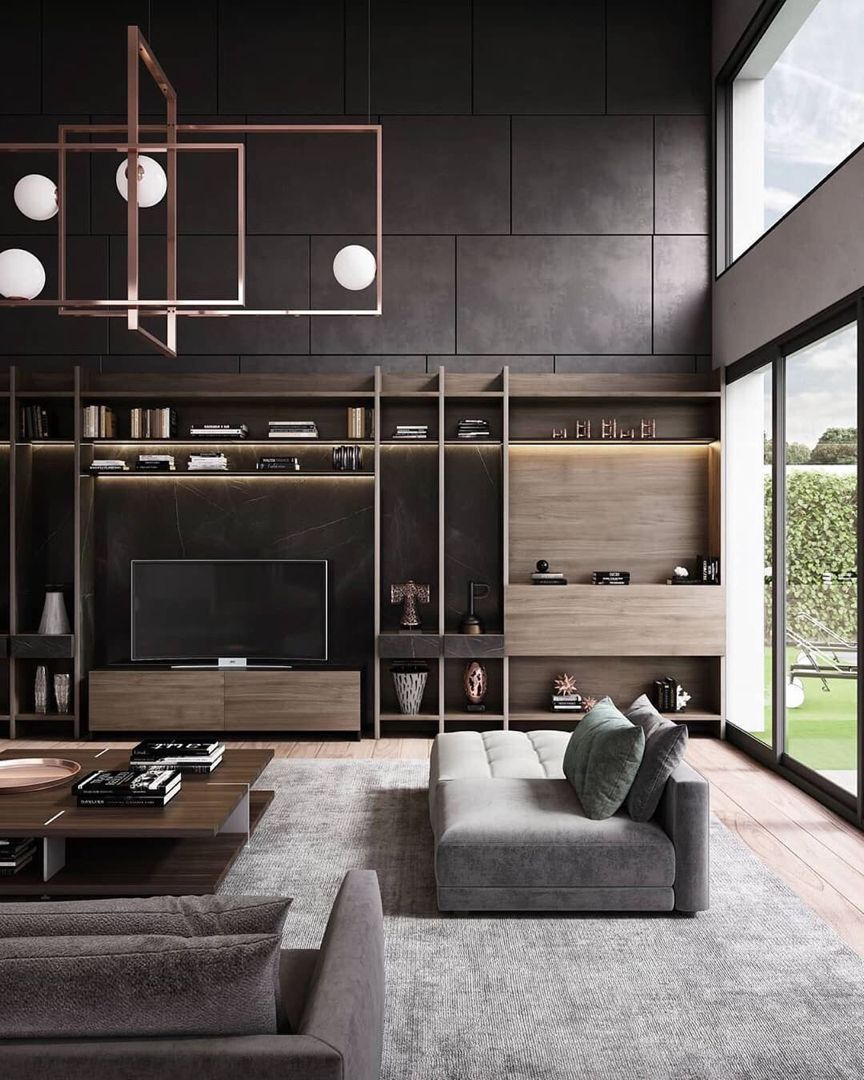 51 Modern Living Room Design From Talented Architects: Private House Is Designed And Visualized By Artist