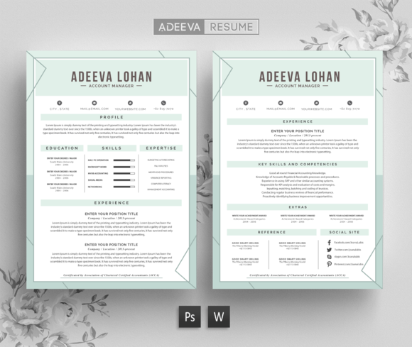 Creative Resume Template Lohan By Adeevaresume On Creativemarket