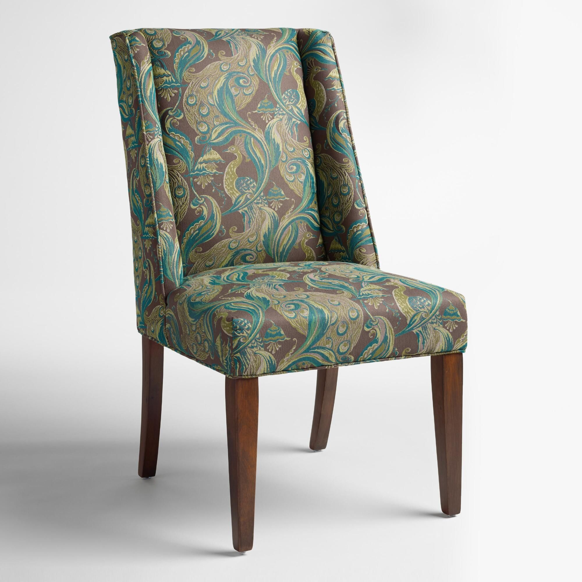 Featuring jacquard fabric upholstery with a peacock motif and subtle