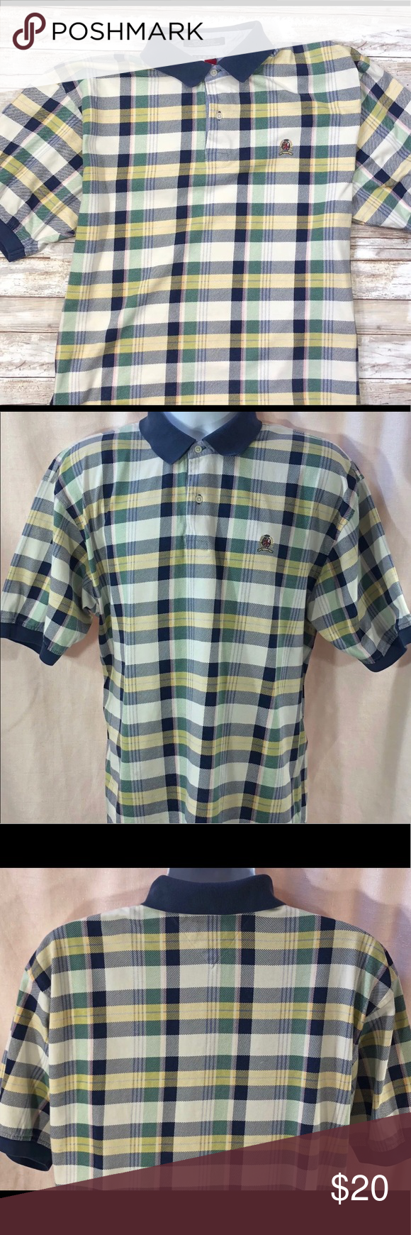 bfda6a6c Vintage Men's Plaid Tommy Hilfiger Polo Large Vintage Tommy Hilfiger Green White  Blue Plaid Checkered Short Sleeve Polo Shirt Large * This item is in ...