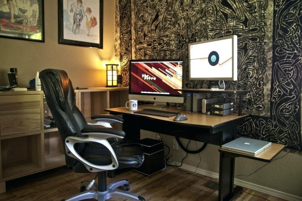 Impressive Office Desk Setup Triple Monitor Home Office Desk