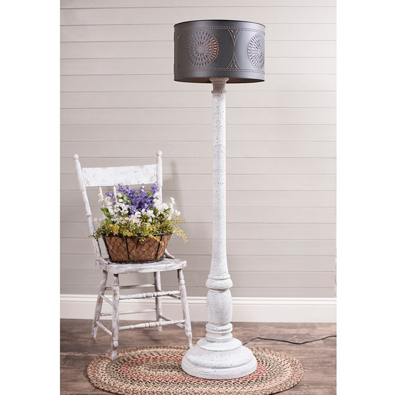 Brinton floor lamp in farmhouse white with textured black
