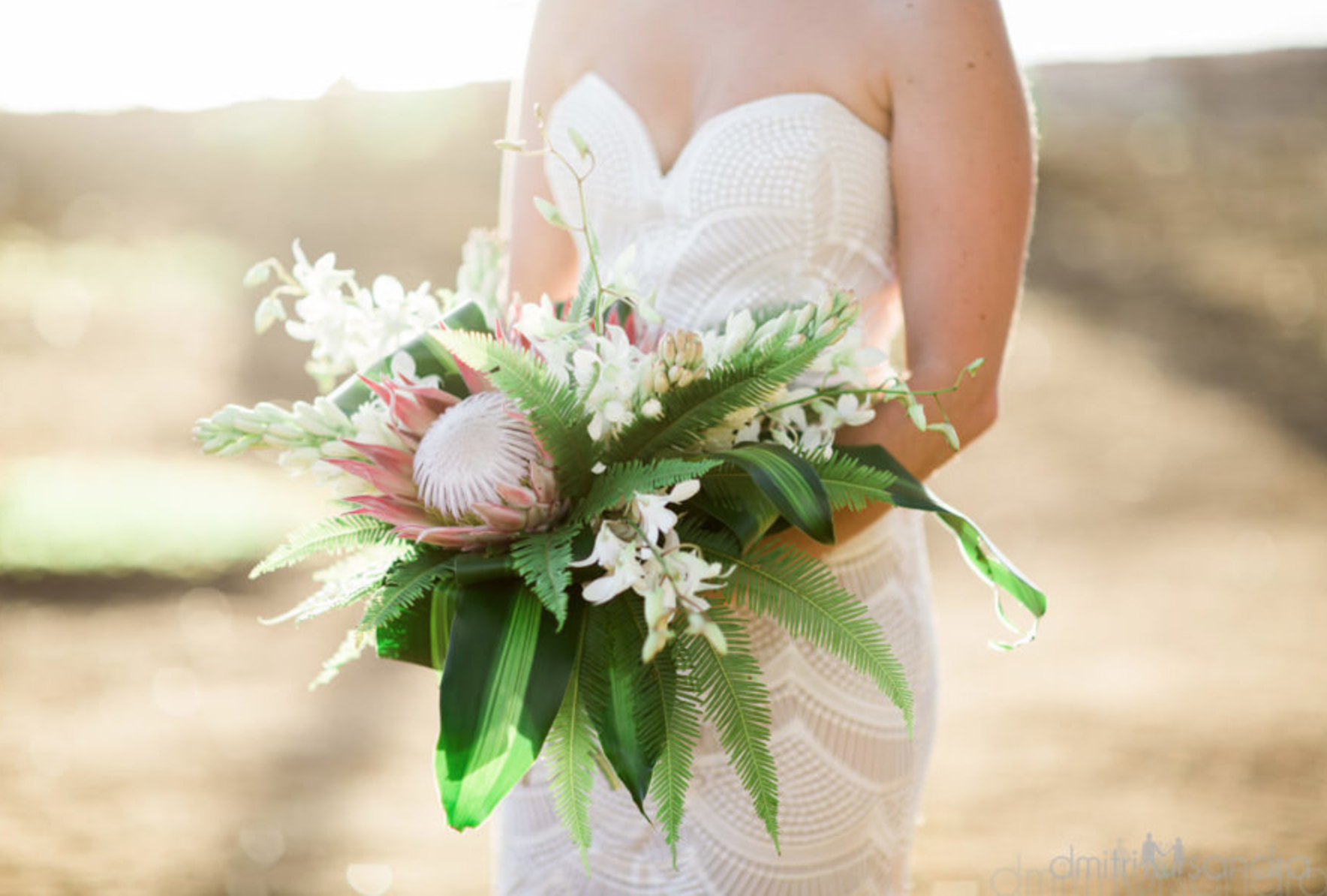 Tropical Bridal Bouquet In Pink White Green Tropical Bridal