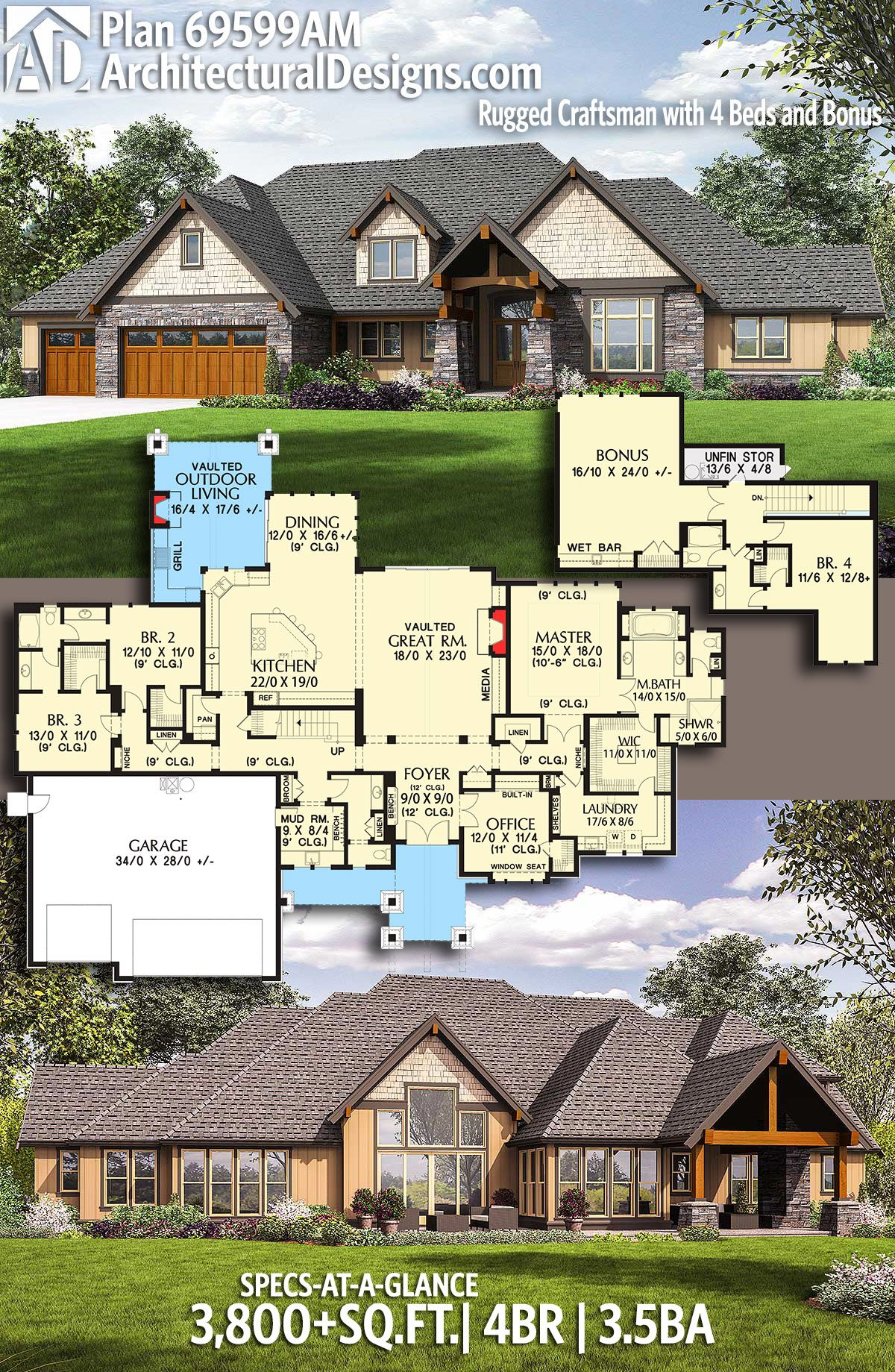 Plan AM Rugged Craftsman with Beds and Bonus in