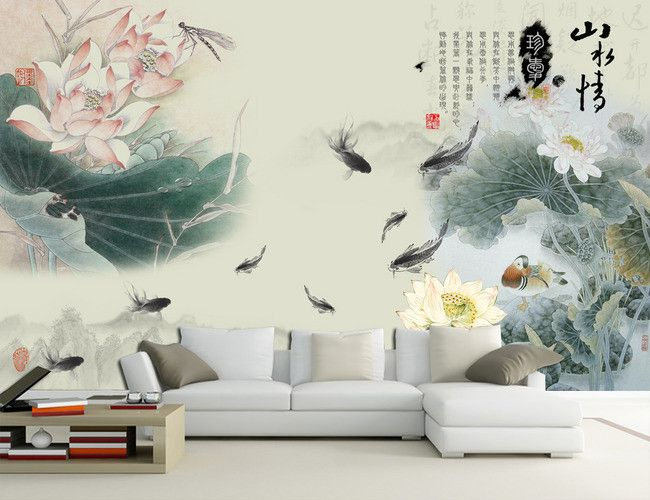 tapisserie asiatique papier peint chinois sur mesure les lotus les poissons et le canard. Black Bedroom Furniture Sets. Home Design Ideas