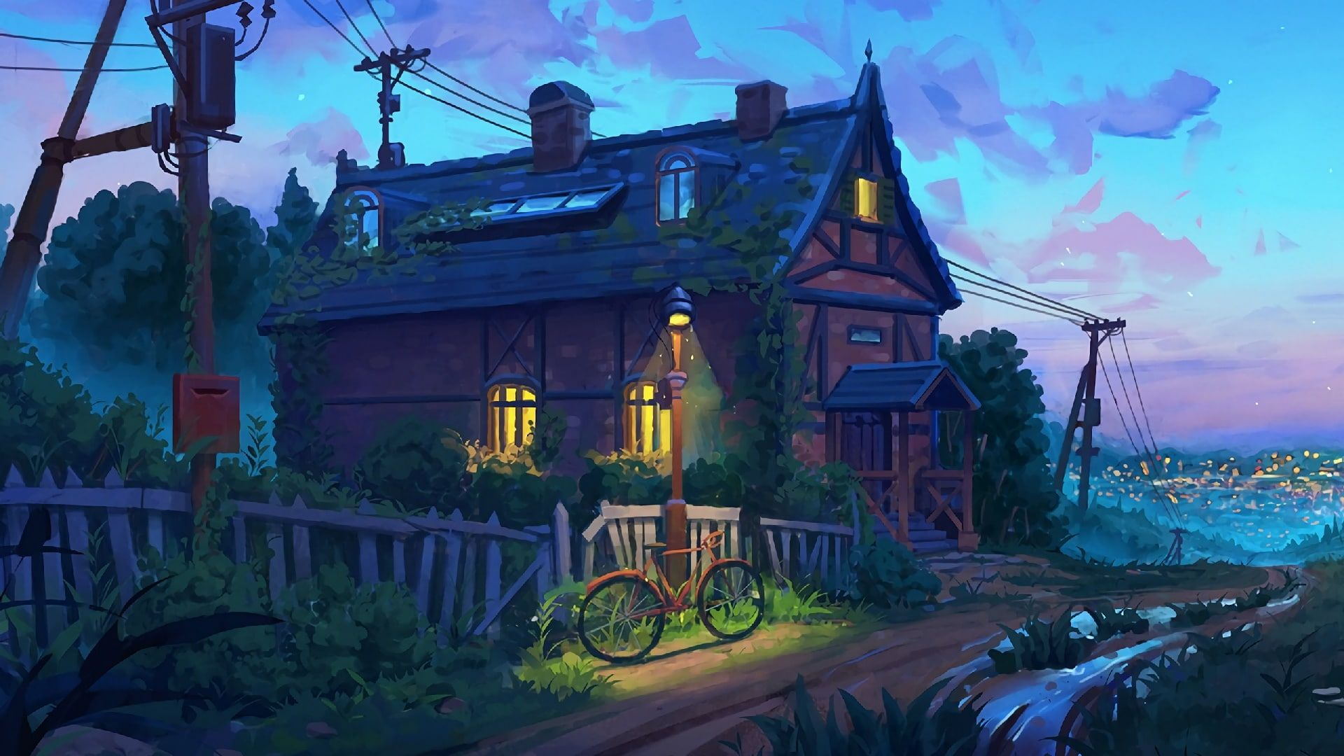 House Painting Bycicle Bike Concept Art Cottage Digital Painting Evening Landscape Art 1080p Wallpaper Hdwa In 2020 Digital Painting Art Wallpaper Wallpaper