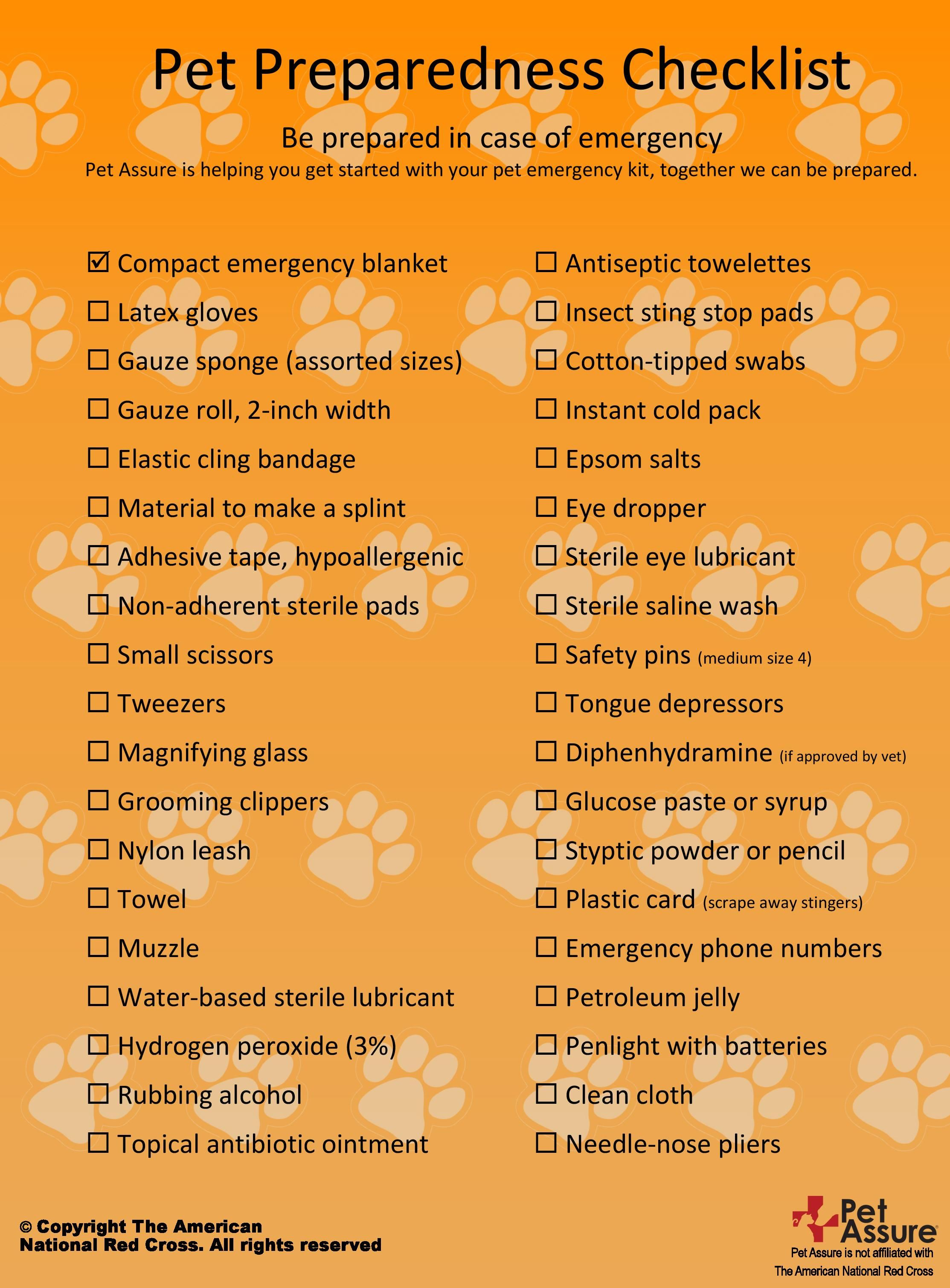 Pet emergency checklist get these items together so that