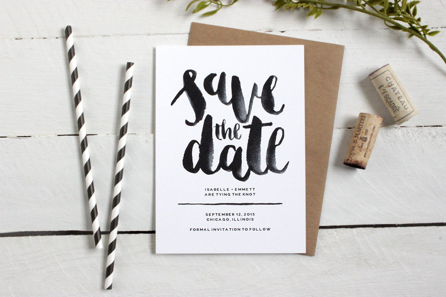 Watercolor save the date • hand lettered modern design by theoysterspearl stylemepretty savethedate