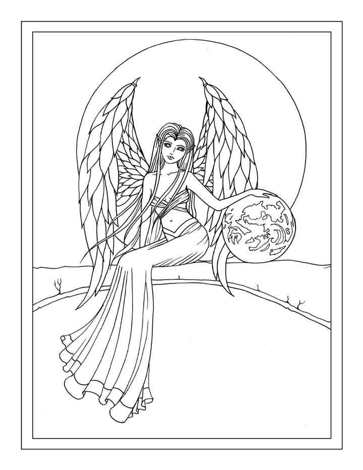 Earth Guardian Angel Free Coloring Page by Molly Harrison ...