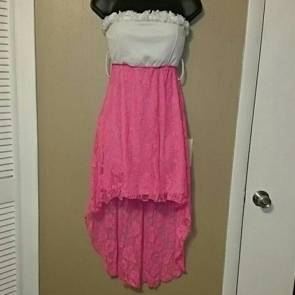 9d53f89d65f SUPER SALE! Neon Pink Strapless High Low Dress. Rue 21 ...