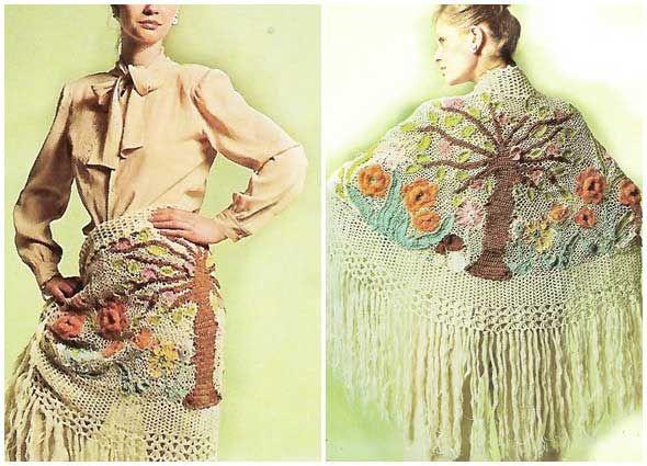 Chal jardin paraiso-arbol de la vida tejido con restos de lanas ...