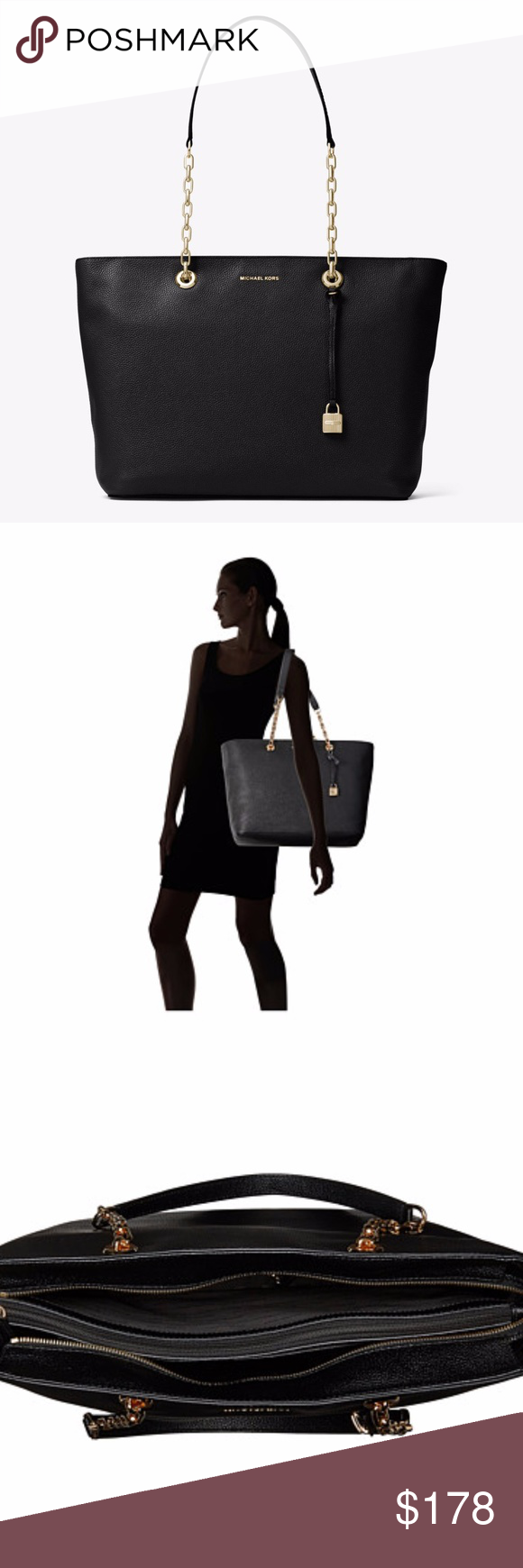 d983a3380dbc Michael Kors Mercer Chain Link Tote Black Leather New with tag! Comes with  dust bag. Free Gift! Michael Kors Mercer Chain Medium Top Zip Multifunction  Tote ...