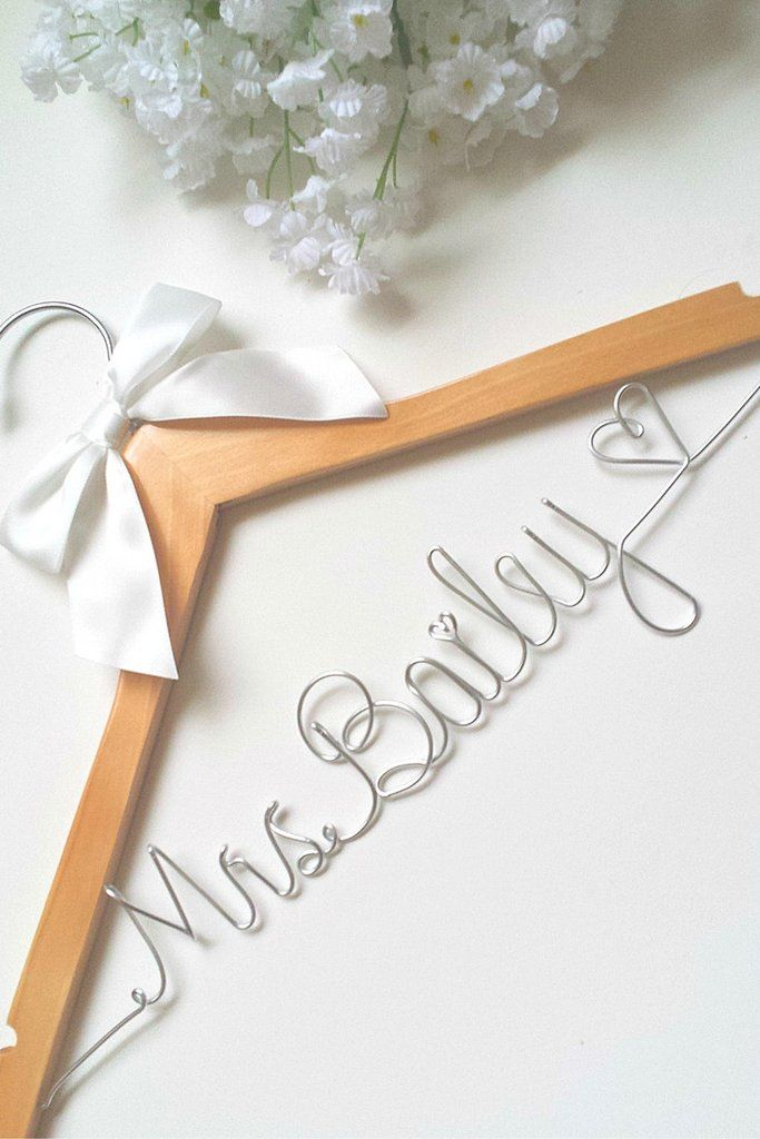 Decorative Floral Bride Hanger Personalized With White Flowers /& Strong Wire Name