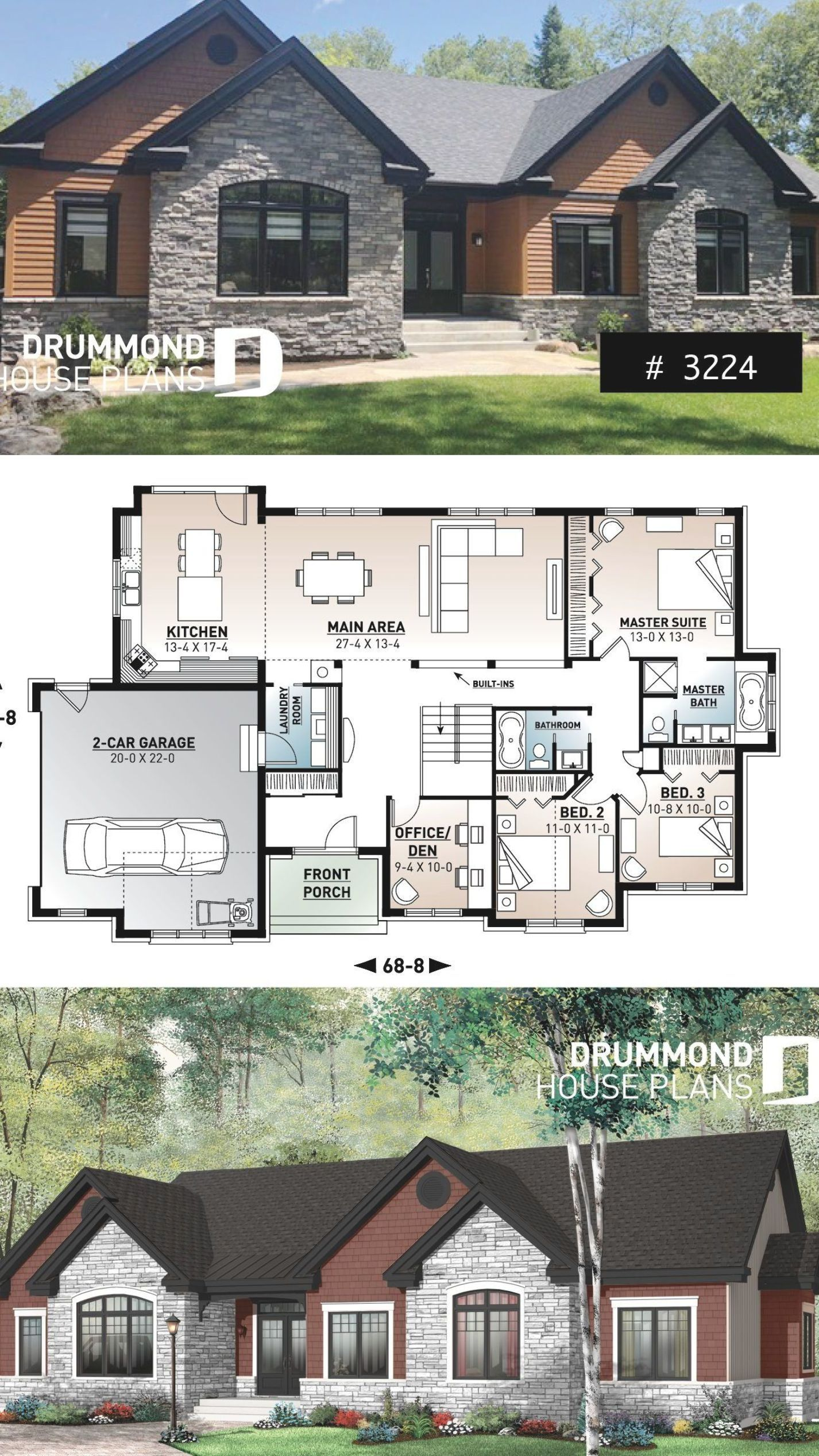 Comfortable 3 To 4 Bedroom Ranch Bungalow House Plan For Corner Lot 9 Ceiling Large Kitchen Isl Ranch House Plans Modern Bungalow Exterior Bungalow Exterior