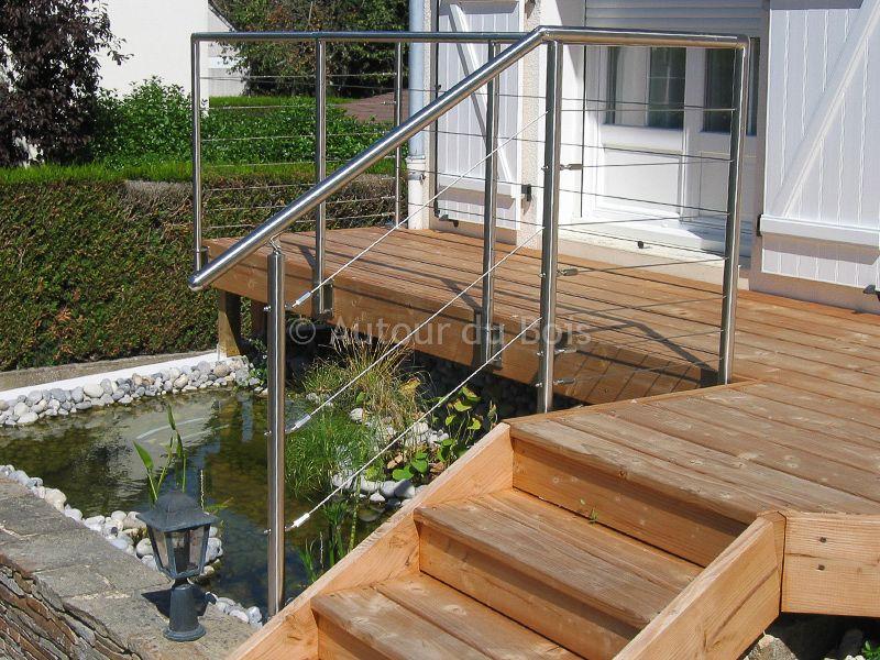 Gardecorps bois et inox pour terrasse bois suspendue  Main courante
