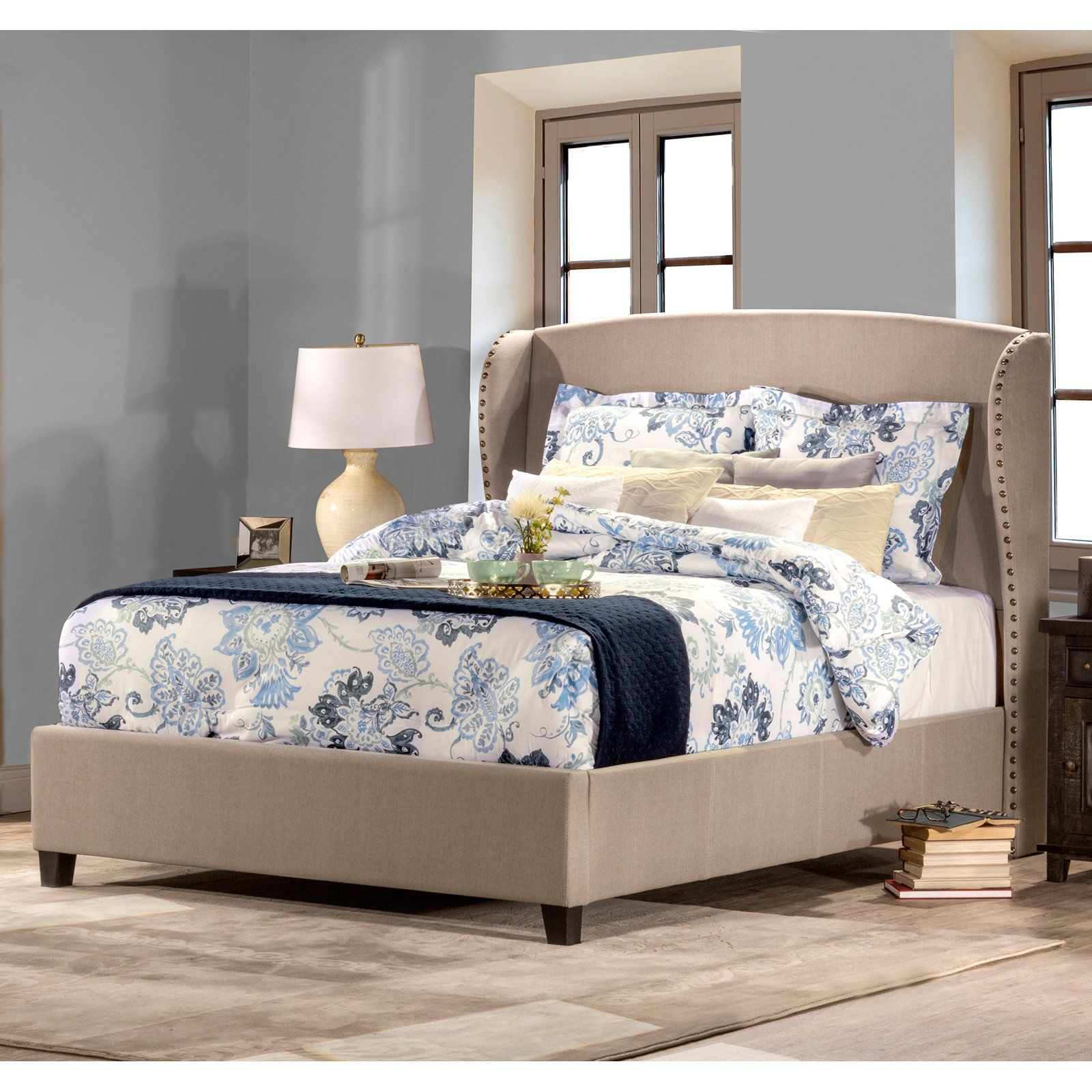 Hillsdale Furniture Lisa Wingback Upholstered Panel Bed