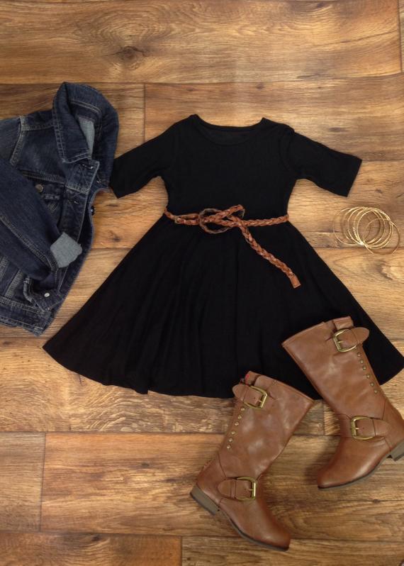 19f83e4dcb Girls Black Twirly Dress