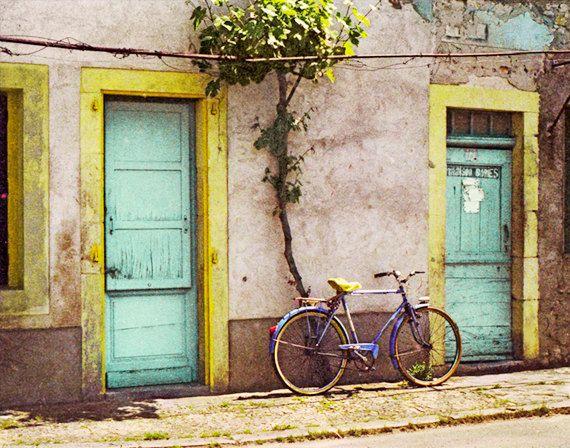 Vintage Bicycle Photograph Bike Art Village France Rustic