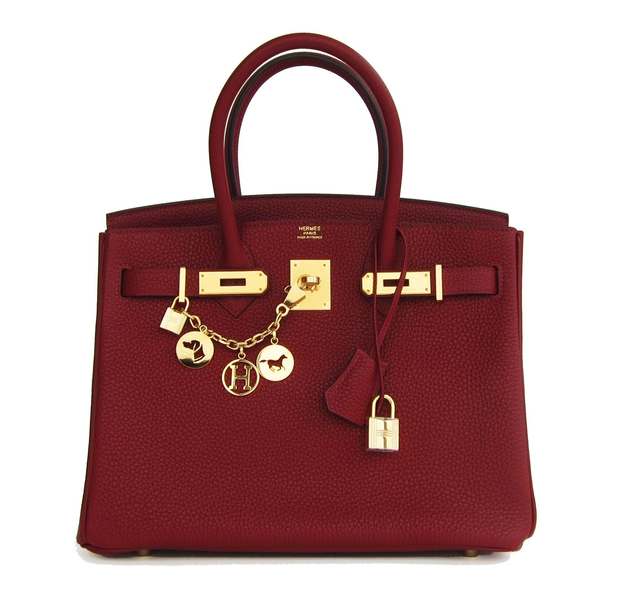 8106449a7004 Hermes Birkin Bag 30cm Rouge H Clemence Gold Hardware