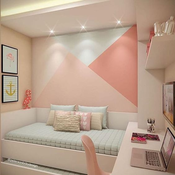 Paredes geométricas en dormitorios infantiles y juveniles