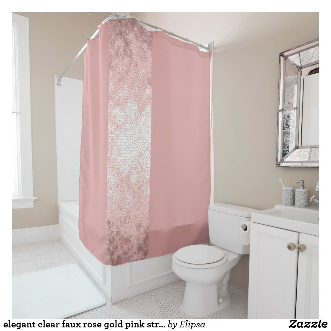 Elegant Clear Faux Rose Gold Pink Stripes Shower Curtain