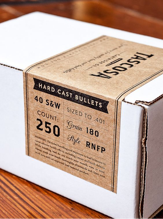 Packaging design for Tascosa Cartridge with kraft paper labels #packaging #simple #type: