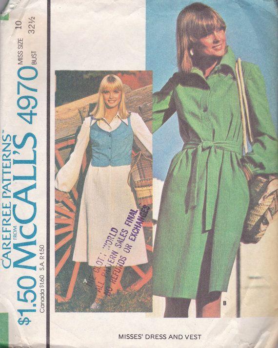 1970er Jahre Kleid & Weste Muster McCalls 4970 von OneMoreCupOfTea