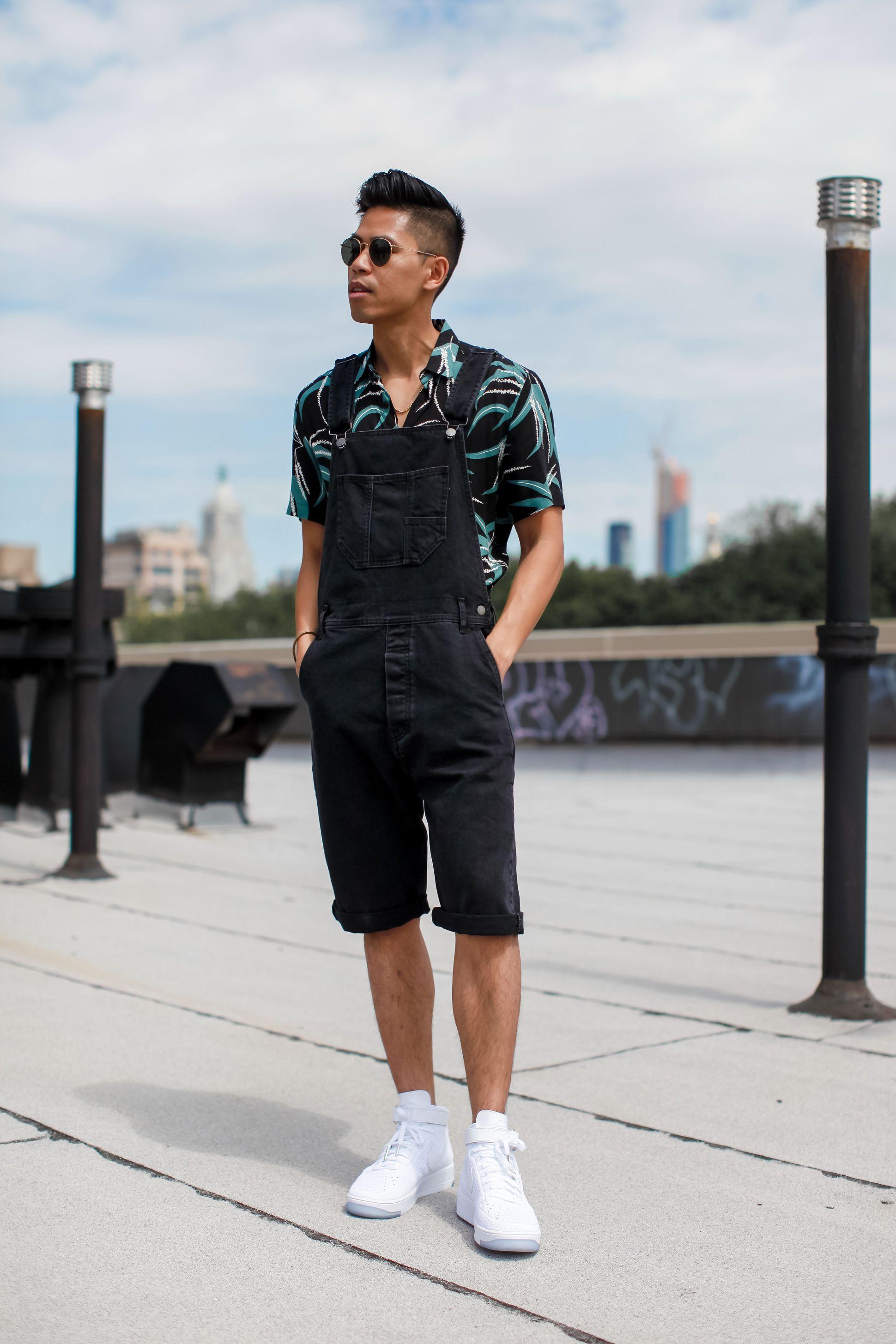 Youth Men Retro Denim Overalls Korea Style Fashion Casual Short Sleeve Dungarees