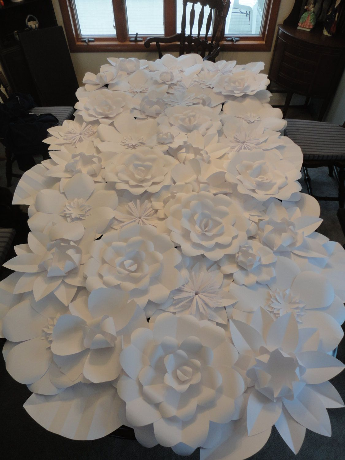 White Paper Flower Wall 4ft x 8ft Extra Paper Flowers Decoration