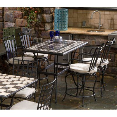 Outdoor Gibraltar Mosaic Gathering Height Patio Dining Set  Seats Prepossessing Mosaic Dining Room Table 2018