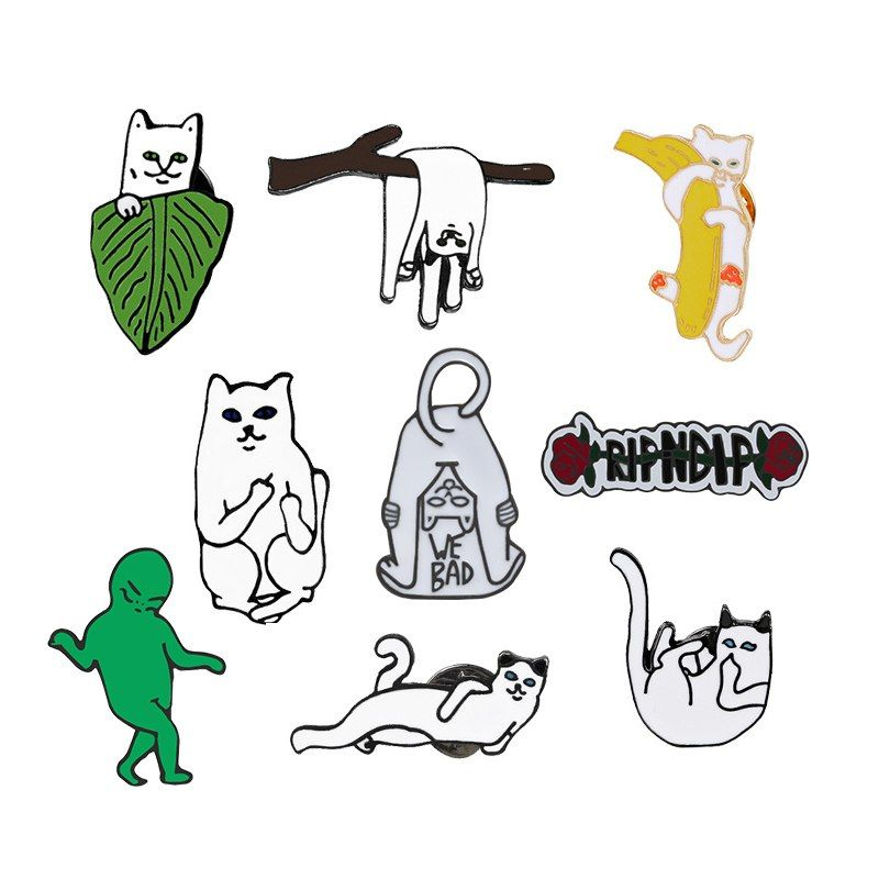 Lapel Pins Metal Badges Fashion Jewelry Cartoon Animal Enamel Pin Button Corsage Cat Brooches Funny Bag Decor Home & Garden