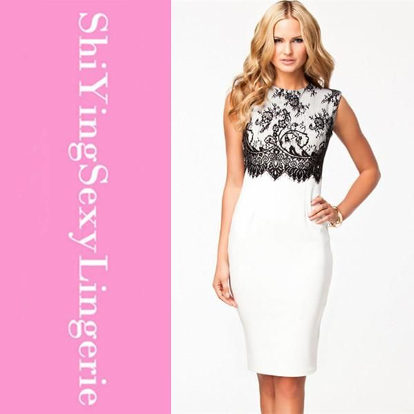Delicate White Black Lace Overlay Sleeveless Midi Dress Women Formal Pencil cheap Dresses 2015 New vestido de festa