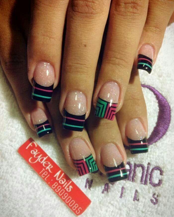 Punta Negra Y Colores Uñas Decoradas Nails Nail Designs Y Nail Art