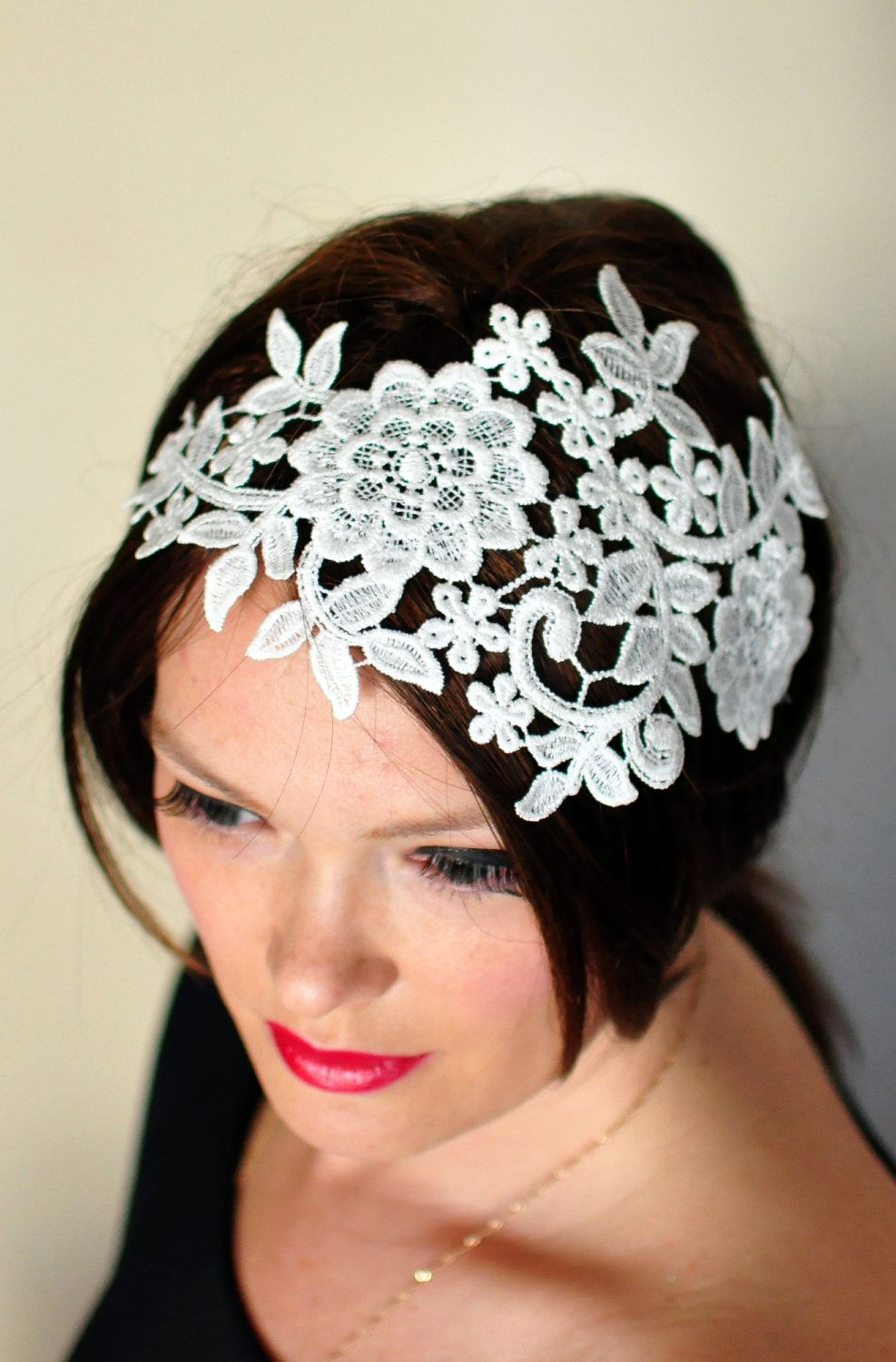 lace headband ivory headwrap wedding bridal hair band