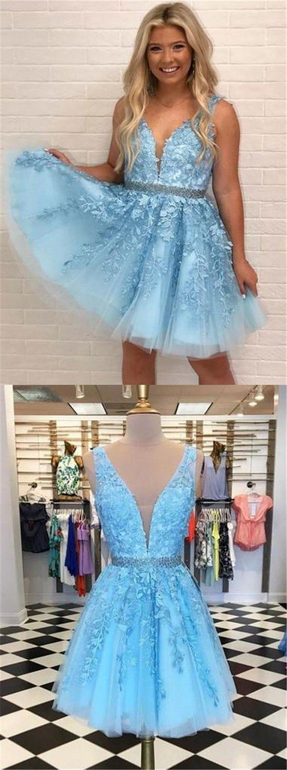 V neck homecoming dresses blue lace homecoming dresses cheap short