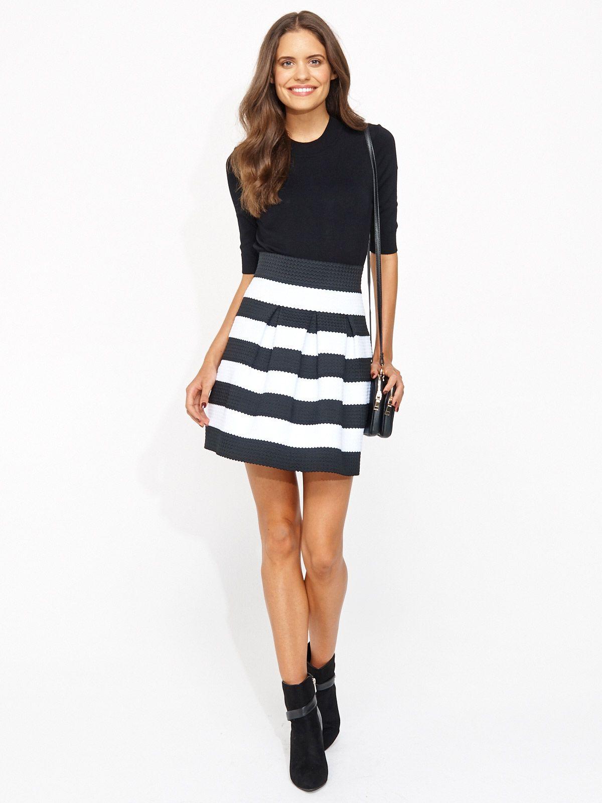 Bandage Elastic Skirt Portmans Black White Stripe Skirt Date
