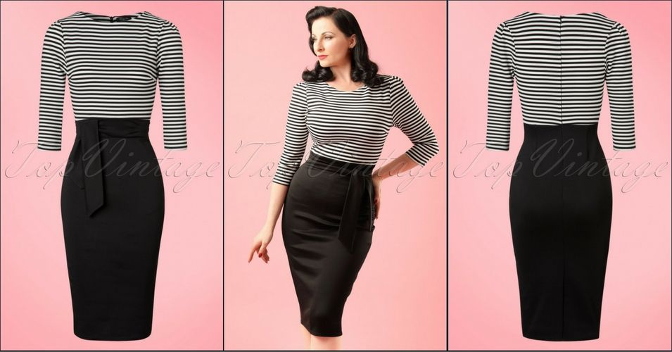 """Vintage Chic TopVintage Exclusive ~ 50s Rebecca Stripes 3/4 Sleeves Pencil Dress in Black and White  ▶▶▶ http://pinup-fashion.de/2dGDuLF  What a beauty this 50s Rebecca Stripes 3/4 Sleeves Pencil Dress and... exclusively available at TopVintage!  Playful, elegant, classy..."