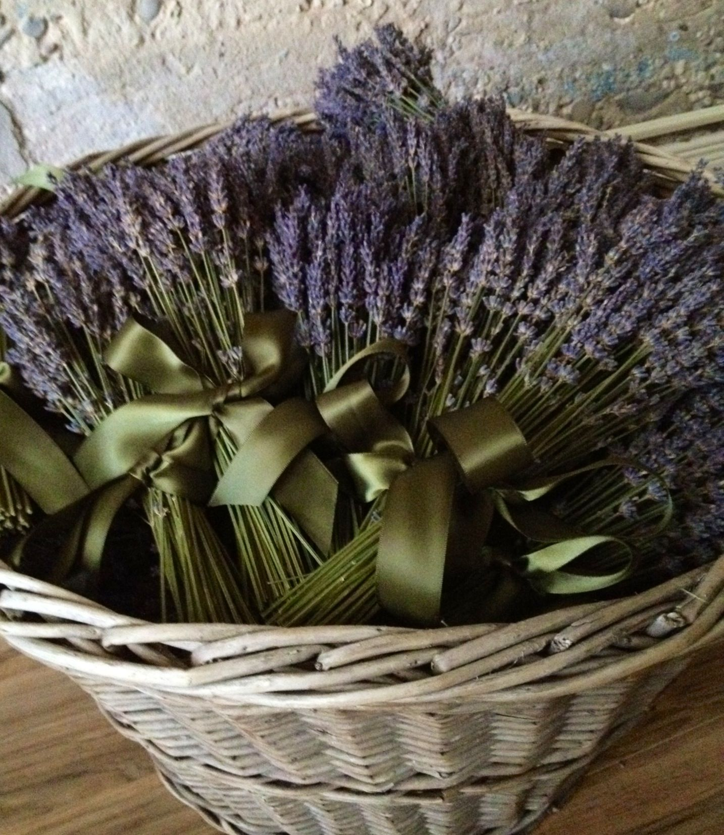 Dried french lavender bundles with sage coloured satin bow
