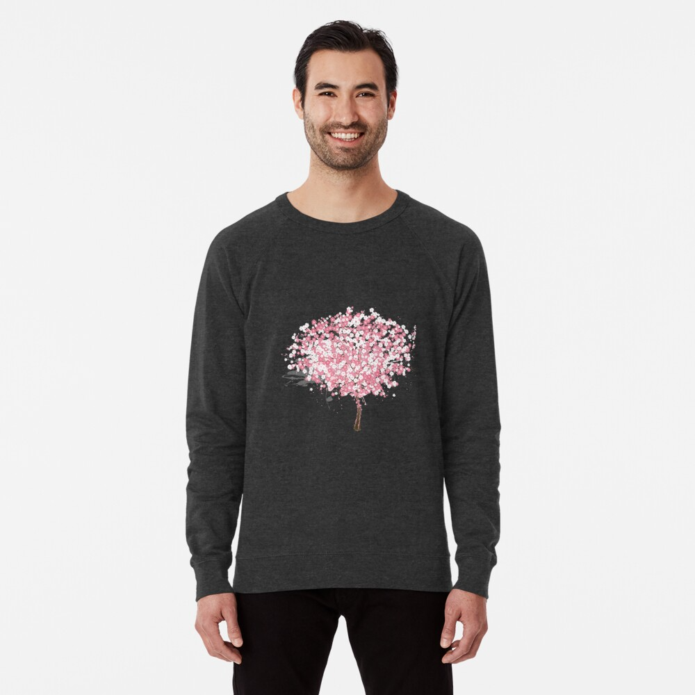 Cherry Blossom Pink Tree Sakura Cherry Blossom Tree Lightweight Sweatshirt By Sherrimans Lightweight Sweatshirts Sweatshirts Long Sleeve Tshirt Men
