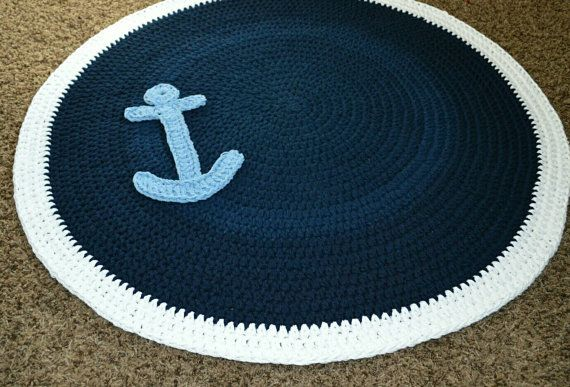 Nautical Anchor Crochet Nursery Rug Playroom By Cubbycreations
