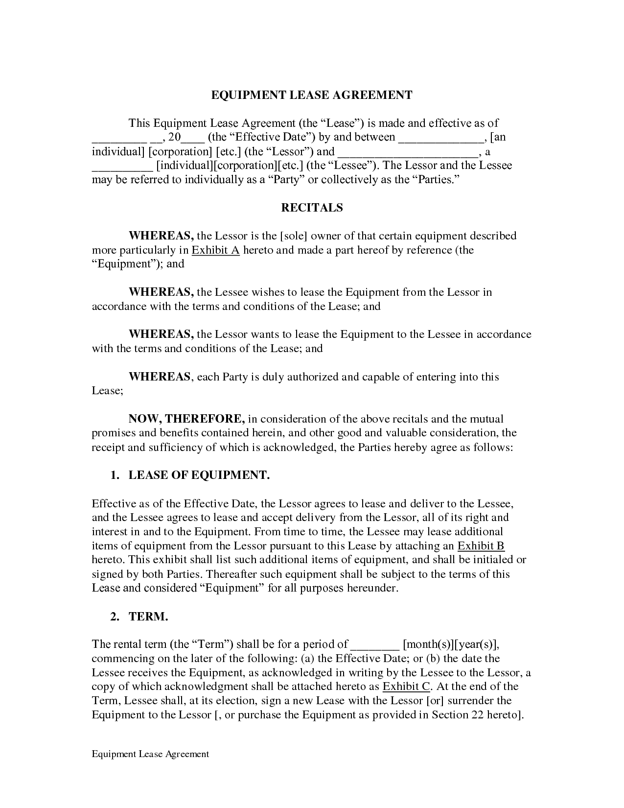 Equipment Lease Agreement DOC by LegalZoom equipment leasing – Equipment Lease Form