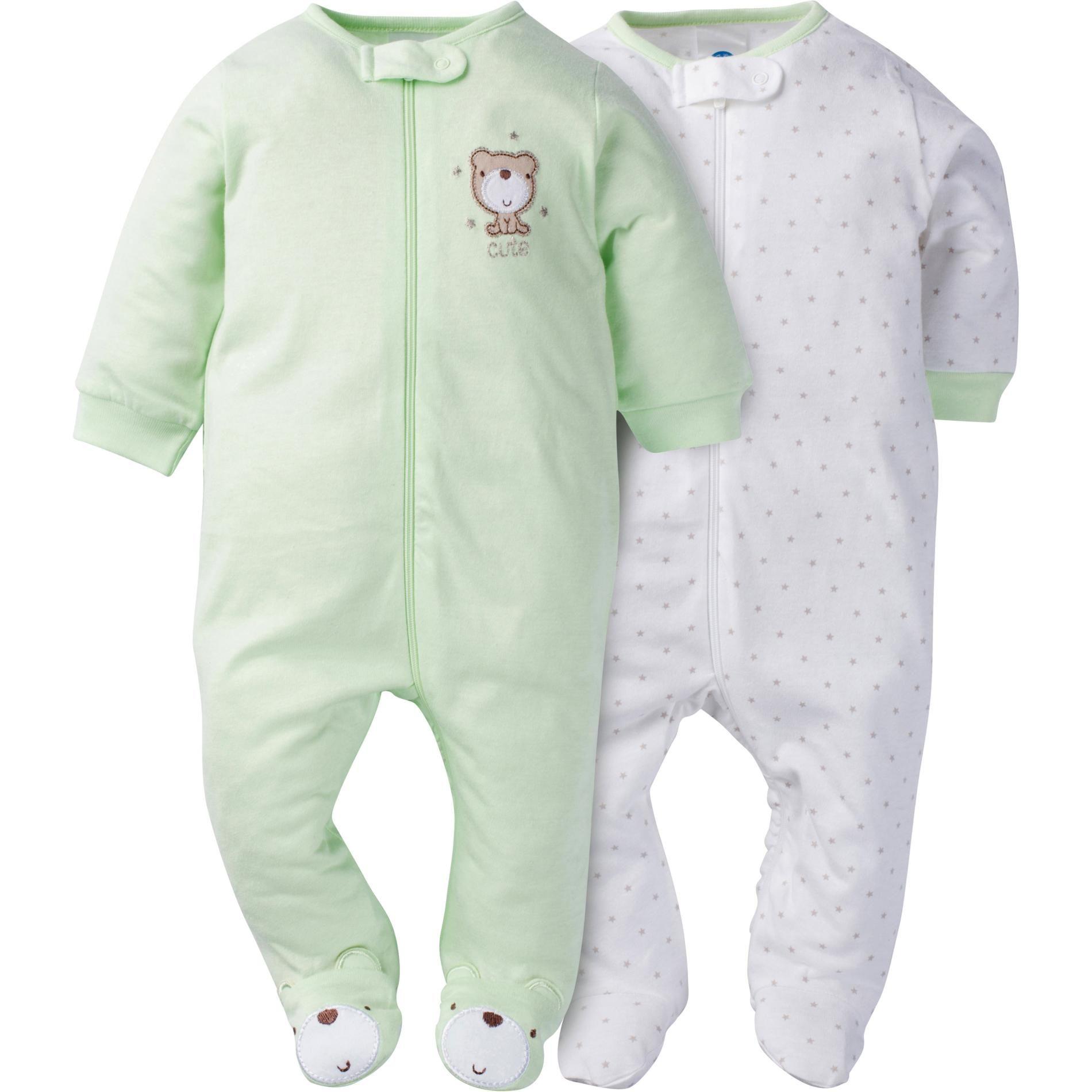 2fff8158aaef Gerber Newborn s 2-Pack Sleeper Pajamas - Bears   Dots