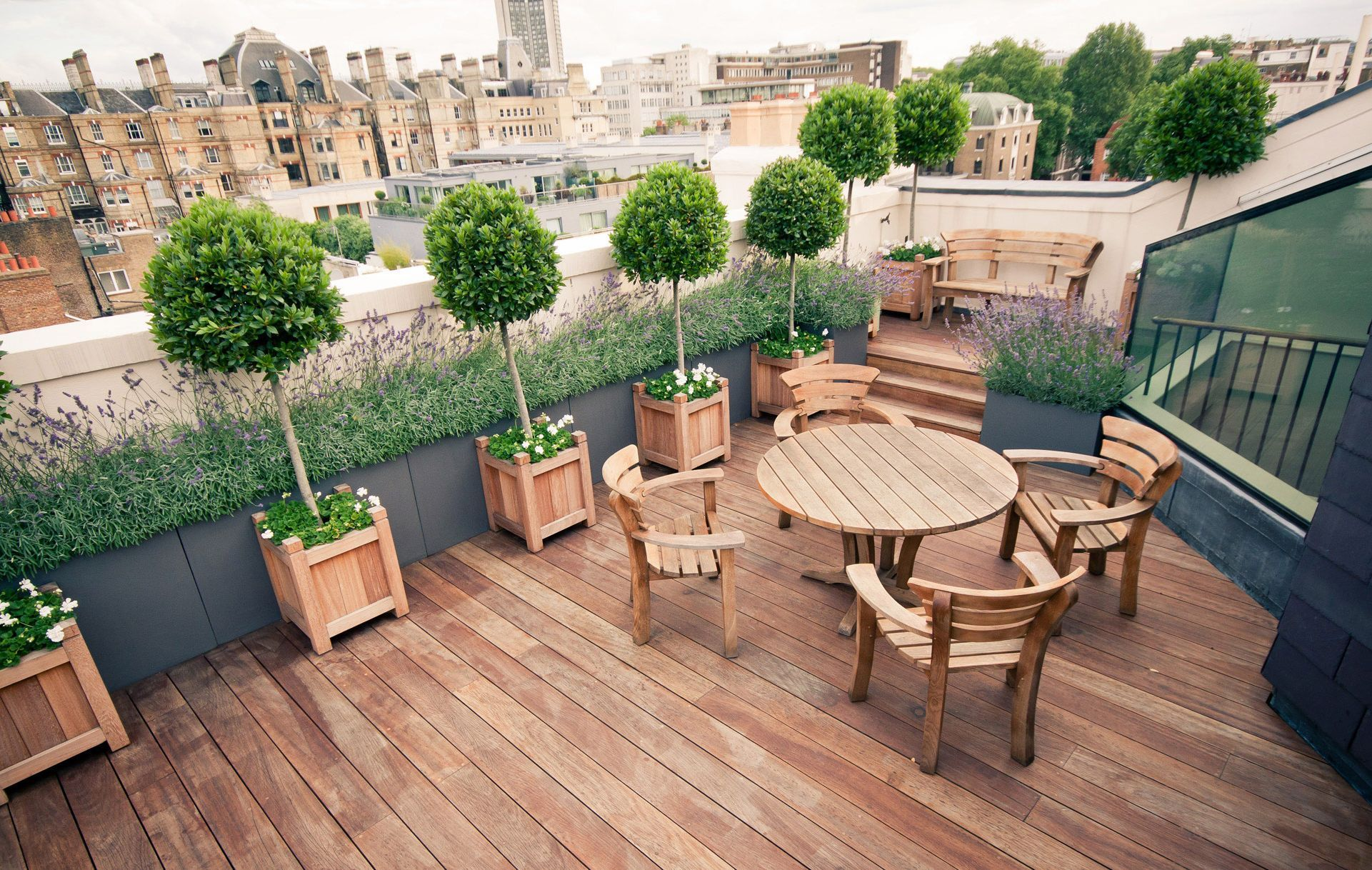 outdoor attractive terrace garden design for beautifying limited