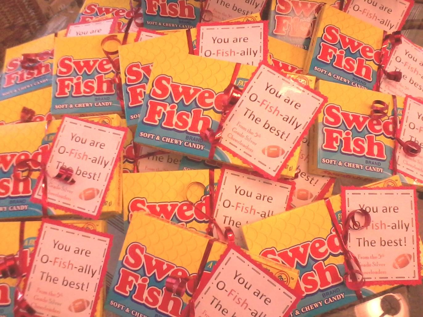 Swedish Fish For Our Football Team You Are O Fish Ally The Best Cheer Spirit Team Snacks Football Treats