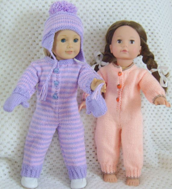 American Girl Doll.  Cosy Onesie or Snuggly Snow Suit Set PDF Knitting Pattern No 23