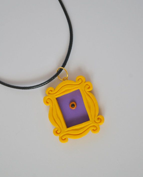 FRIENDS tv show inspired- Yellow peephole frame pendant from polymer ...