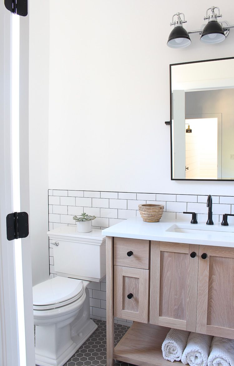 A Classic White Subway Tile Bathroom Designed By Our Teenage Son! - The House of Silver Lining